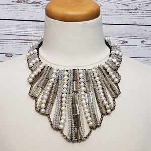 Sally C for HSN Beaded Faux Pearl Bib Necklace